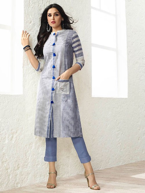 Off White and Blue Colored Beautiful Embroidered Rayon Kurti