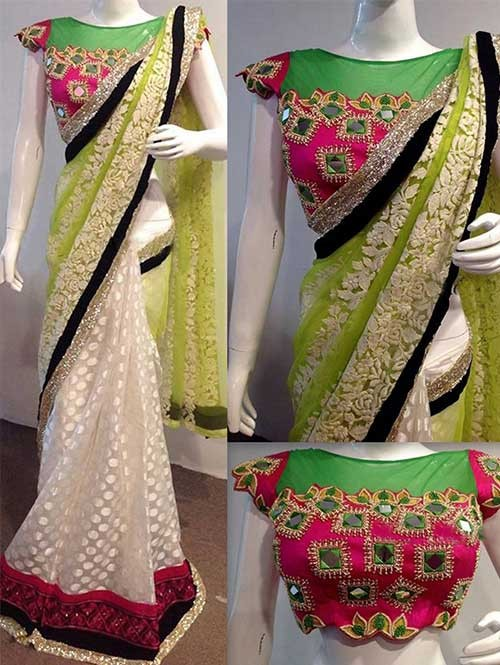 Off White And Mhendi Colored Beautiful Embroidered Nylon Net and Georgette Saree
