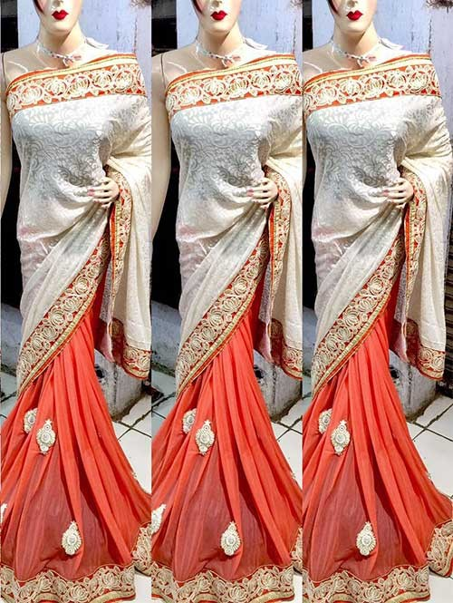 Off White and Orange Colored Beautiful Embroidered Pure Brasso with Lycra Saree