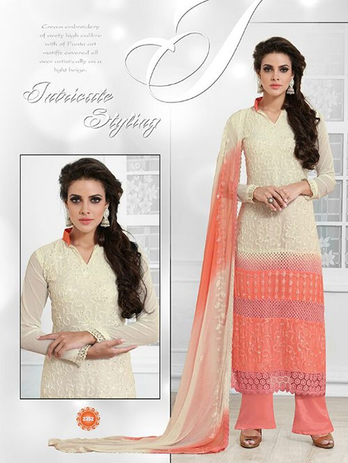 Off White and Peach Colored Beautiful Embroidered Faux Chiffon Suit