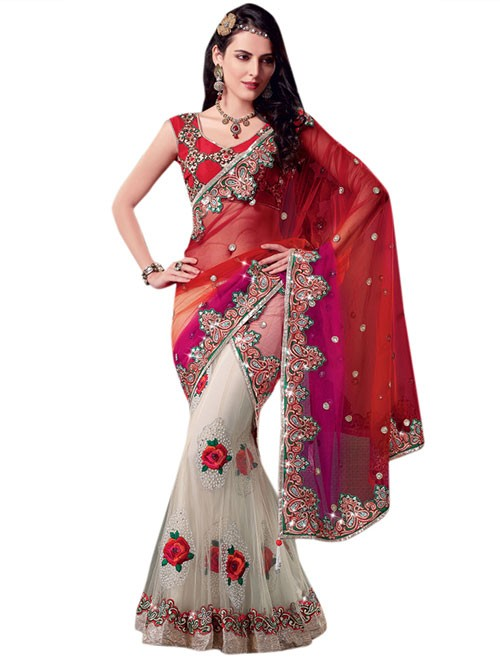 Off White and Red Colored Beautiful Embroidered Net Lehenga Saree