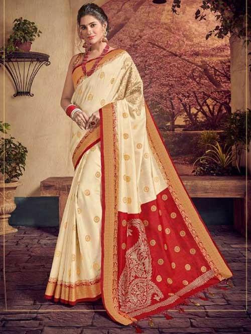 Off White and Red Colored Beautiful Hand Dyeing Soft Silk Saree - Rani Jodha