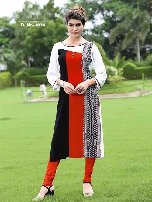 Off White and Red Colored Beautiful Rayon Printed Kurti