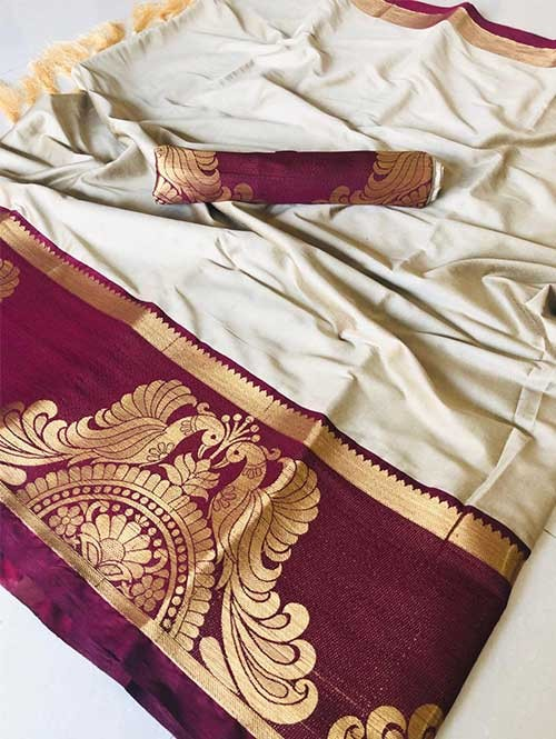 Off White Color Beautiful Weaving Cotton Silk Saree