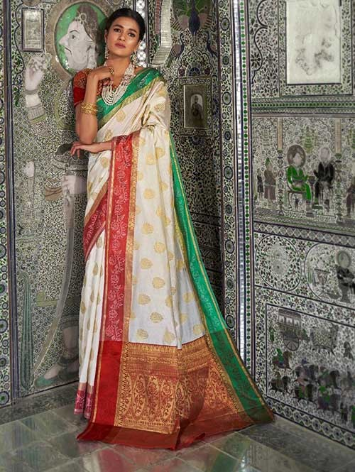 Off White Color Beautiful Weaving Silk Saree - Kaanch