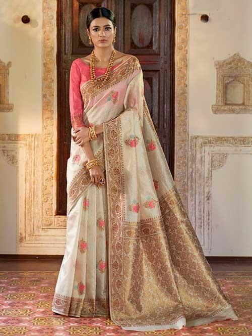 Off White Color Beautiful Weaving Silk Saree - Kanshula
