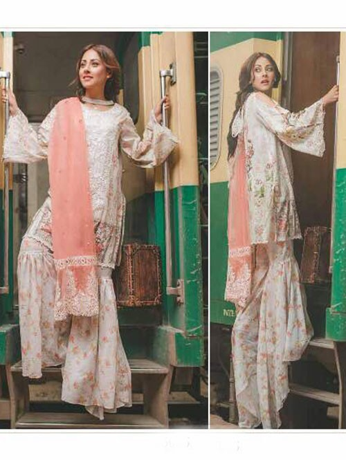 Off White Color Heavy Embroidered Cotton Pakistani Suit