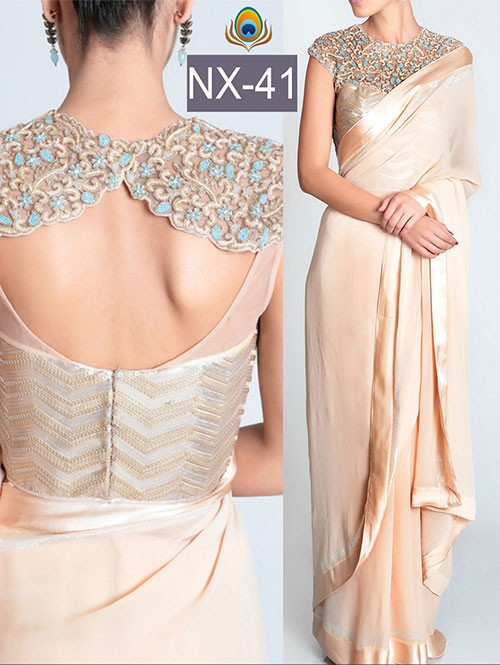 Off White Color Lycra Silk Georgette Saree with eye-catching border