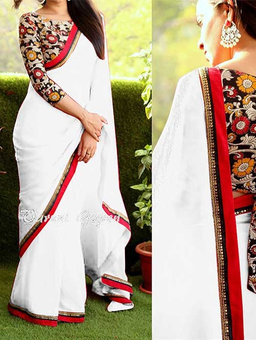 Off White Colored Beautiful 60gm Georgette Saree
