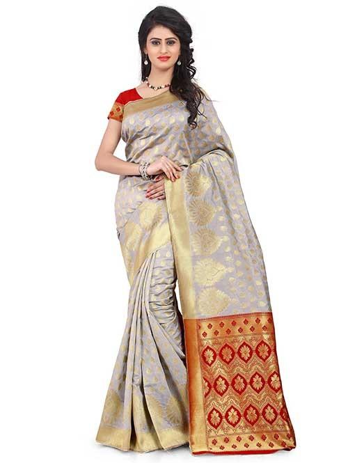 Off White Colored Beautiful Banarasi Silk Saree