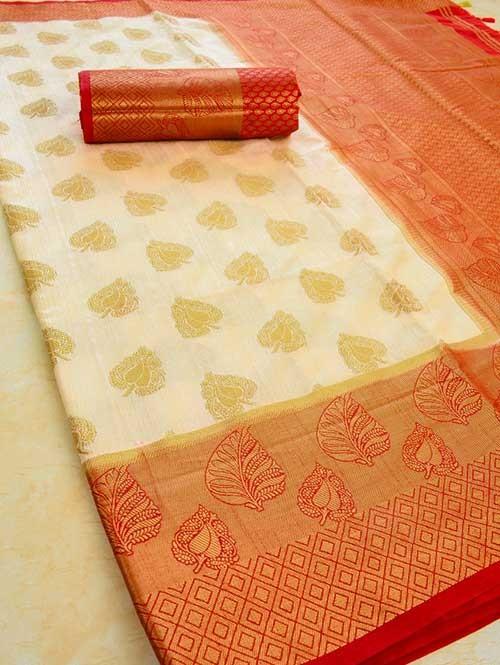 Off White Colored Beautiful Branded Weaving Pure Silk Saree - Rani Jhanshi