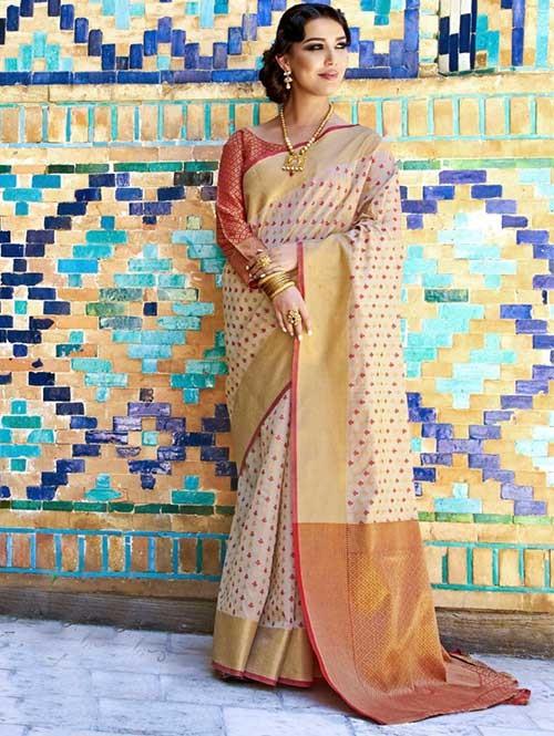 Off White Colored Beautiful Branded Weaving Silk Saree - Krystal