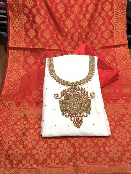 Off White Colored Beautiful Chanderi Cotton Dress Material with Khatali Hand Work.