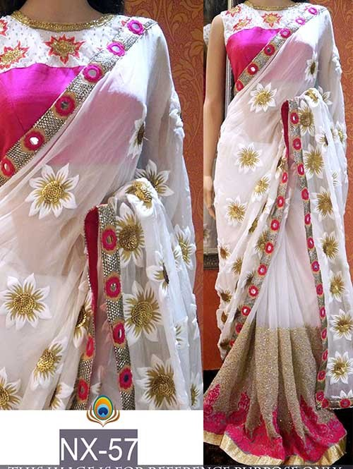 Off White Colored Beautiful Embroidered Border Georgette Saree.