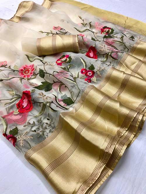 Off White Colored Beautiful Embroidered Branded Organza Silk Sarees