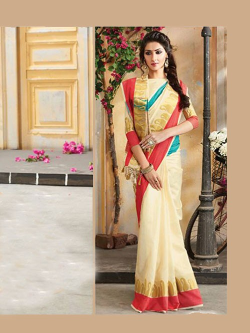 Off White Colored Beautiful Embroidered Cotton Saree With Matching Blouse