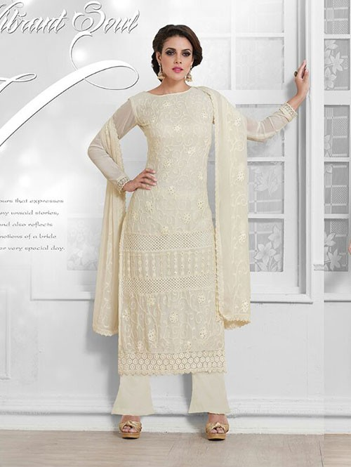 Off White Colored Beautiful Embroidered Faux Chiffon Suit