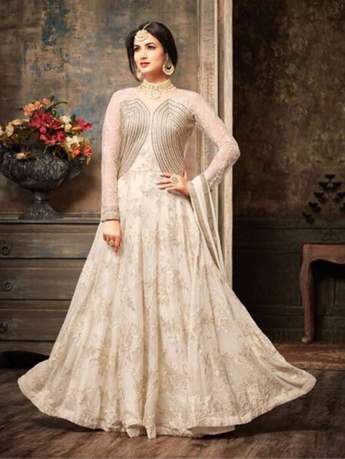 Off White Colored Beautiful Embroidered Georgette Anarkali Suit