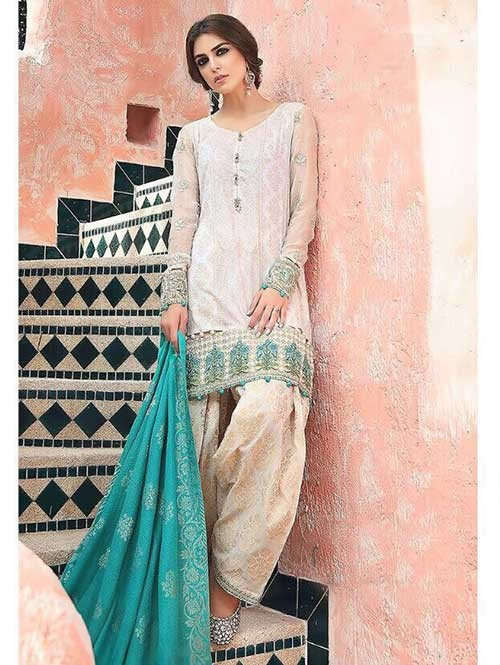 Off White Colored Beautiful Embroidered Pakistani Salwar Suit