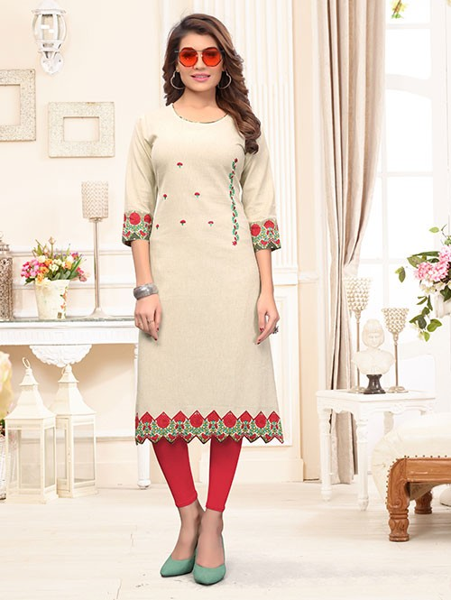 Off White Colored Beautiful Embroidered & Printed Straight Cotton Kurti