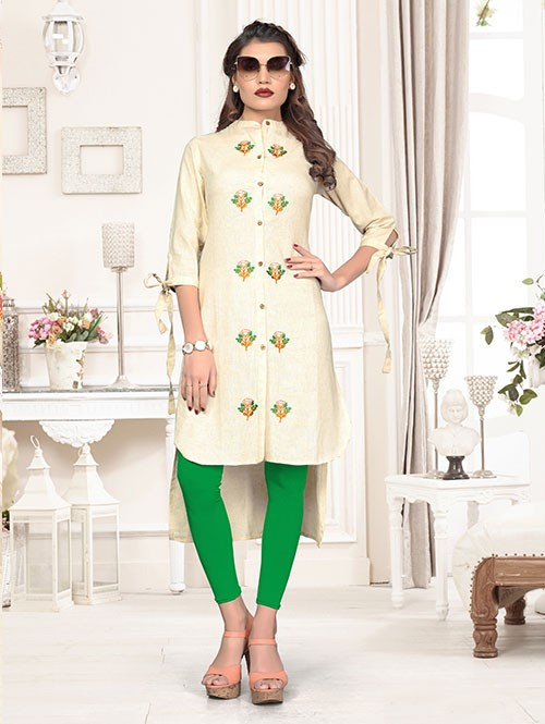 Off White Colored Beautiful Embroidered Shirt Style High-Low Cotton Kurti