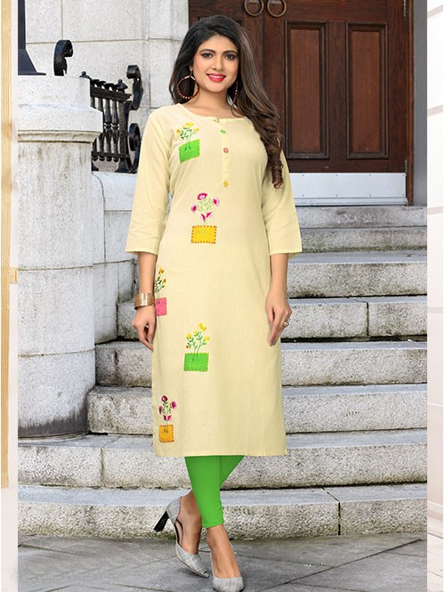 Off White Colored Beautiful Embroidered Straight Cotton Kurti