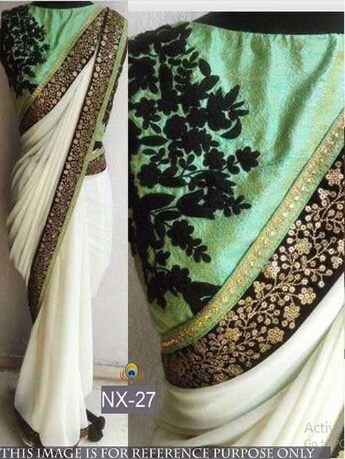 Off White Colored Beautiful Georgette Saree With Embroidered Blouse