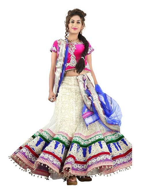 Off White Colored Beautiful Heavy Embroidered Net Lehenga