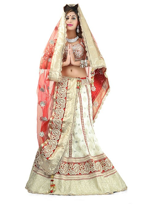 Off White Colored Beautiful Heavy Embroidered Pure Georgette Lehenga