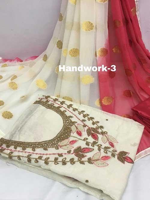 Off White Colored Beautiful Khatali Work Chanderi Cotton Dress Material.