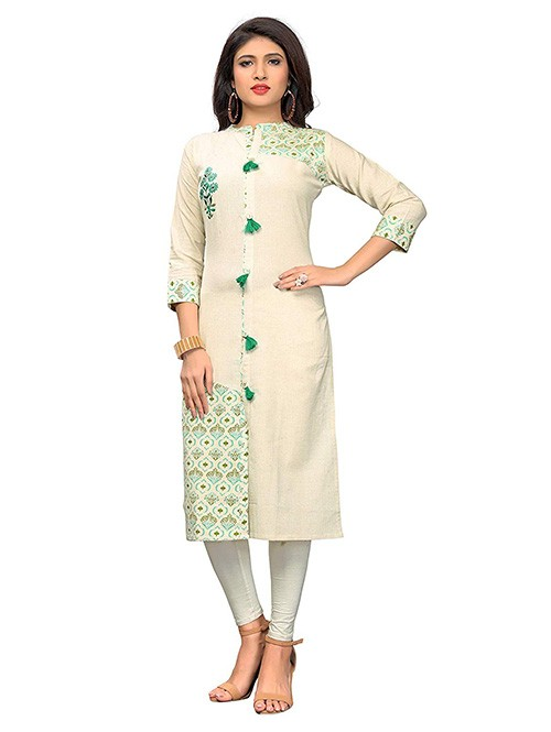Off White Colored Beautiful Printed and Embroidered Shirt Style Cotton Kurti