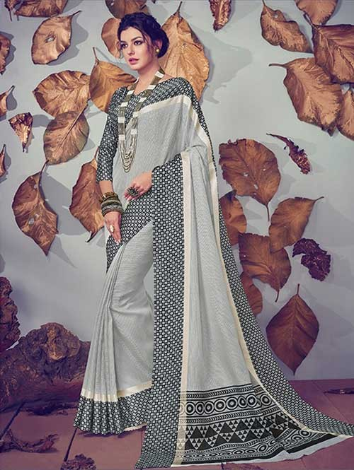 Off White Colored Beautiful Printed Kota Silk Saree