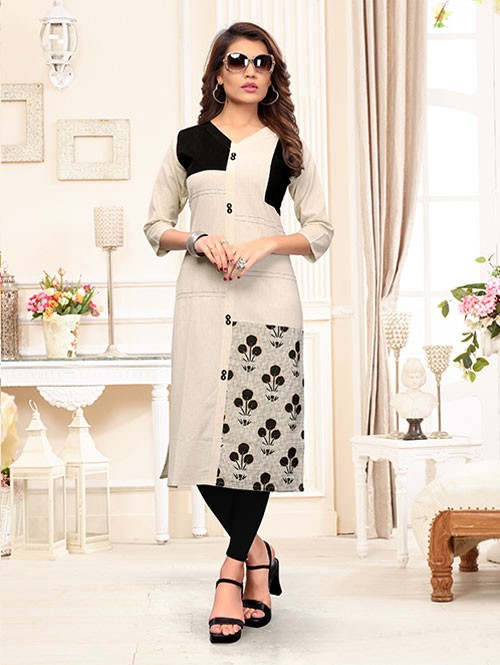Off White Colored Beautiful Printed Straight Cotton Kurti