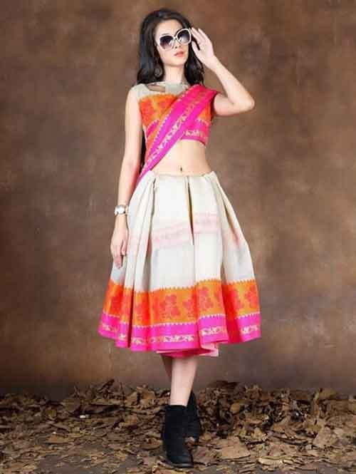 Off White Colored Beautiful Pure Soft Cotton Saree With Exclusive Latkan