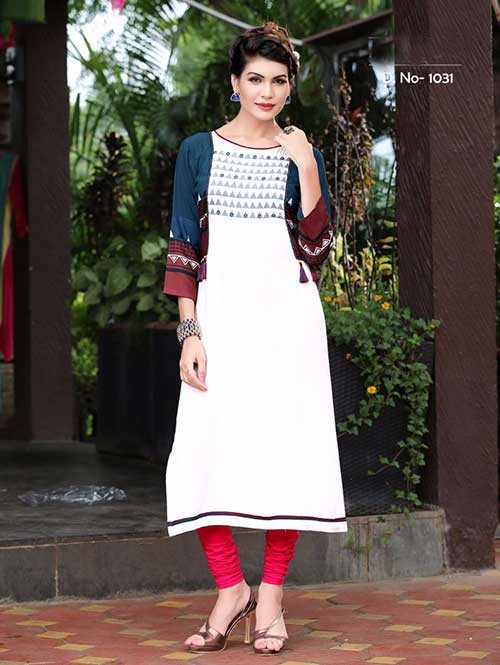 Off White Colored Beautiful Rayon Printed Kurti