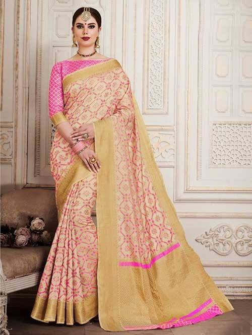 Off White Colored Beautiful Silk Weaving Saree