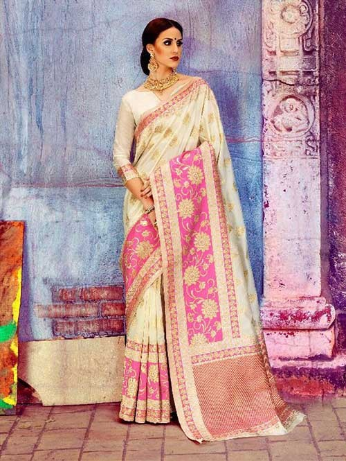 Off White Colored Beautiful Waving Silk Saree