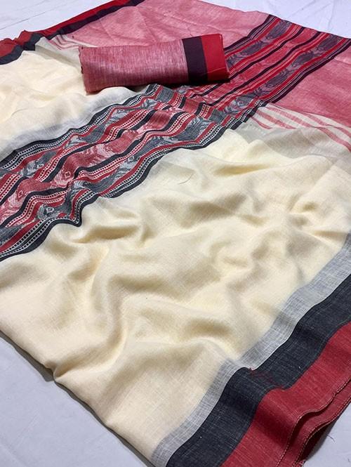 Off White Colored Beautiful Woven Linen Saree