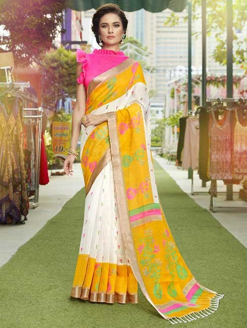 Off White Colored Beautiful Zari weaving Linen Silk Traditional Saree