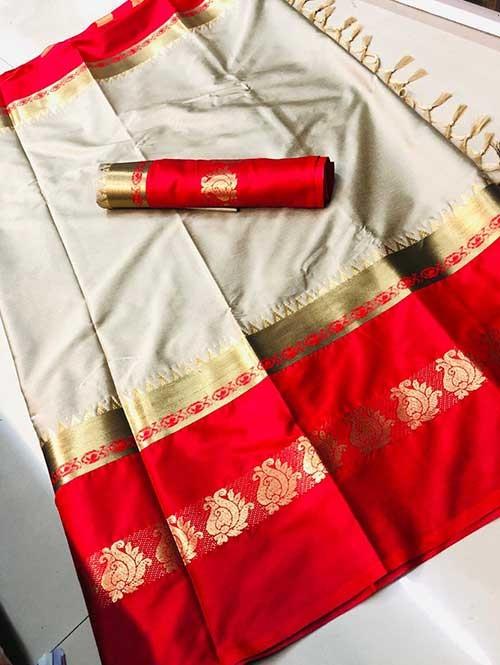 Off White Colored Cotton Silk Saree - Karishma