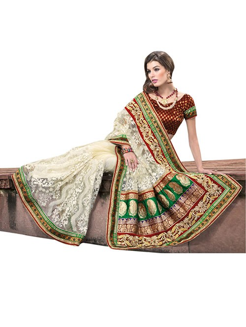 Off White Colored Embroidered Net Saree