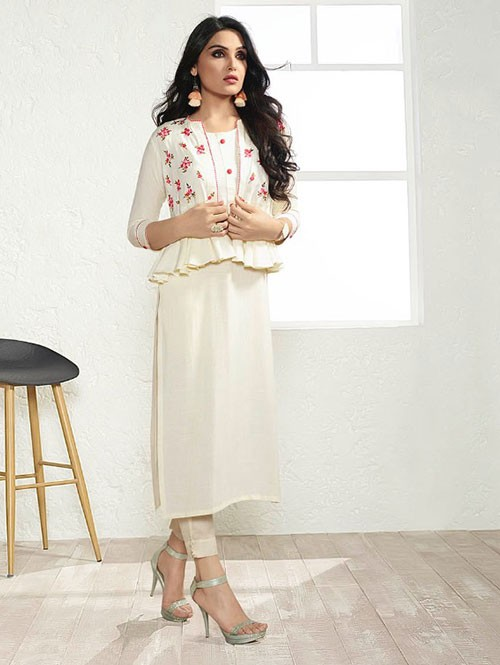 Off White Colored Embroidered Rayon Kurti With Koti