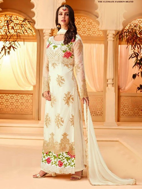 Off White Colored Heavy Embroidered Original Net Salwar Suit Material
