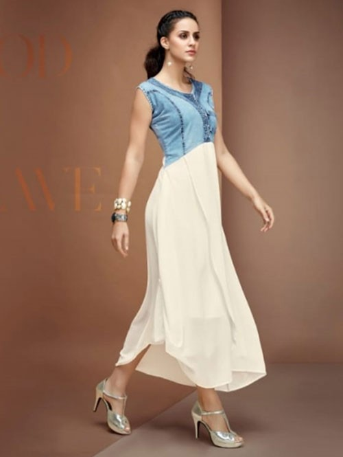 Off White Colored Layered Georgette Denim Kurti in Best Quality.
