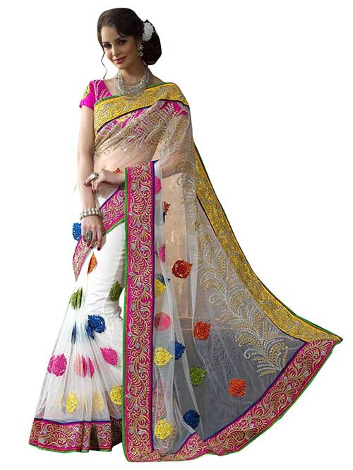 Off White Colored net Beautiful Saree