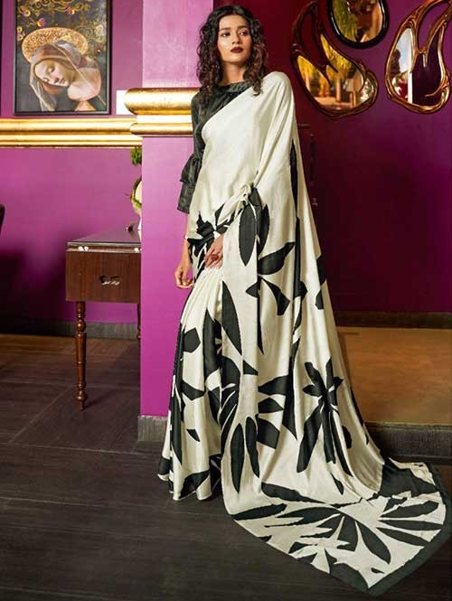 Off White Colored Printed Satin Japanese Crepe Saree in Best Qaulity - Kshwetlana