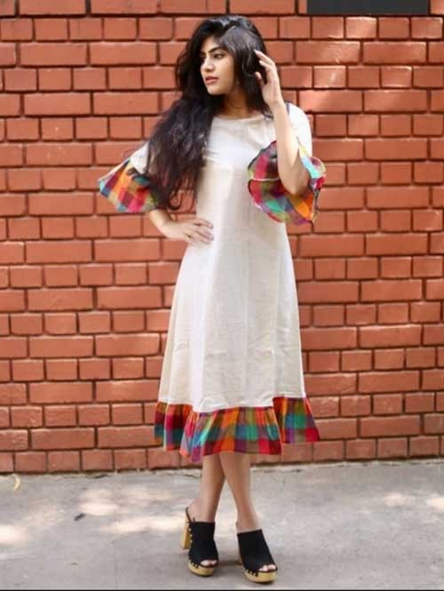 Off White Colored Straight South Cotton Kurti Online - Jingle Bell