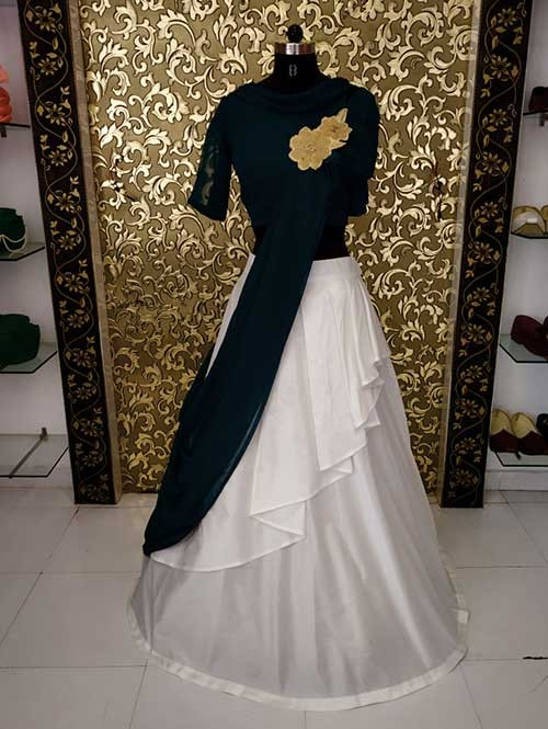 Off White & Green Colored Beautiful Two Layers Taffeta Lehenga Choli