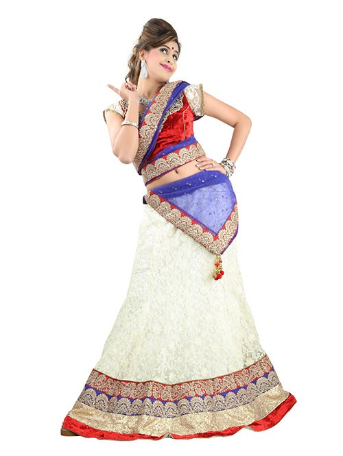 Off White Colored Beautiful Heavy Embroidered Net Lehenga With Matching Choli and Dupatta