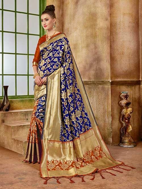 Orange and Navy colored Beautiful Banarasi Silk Saree